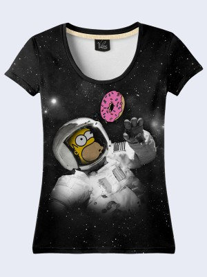 Футболка Homer and donut in space